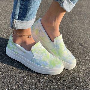 Lime Tye dye Iime slip on canvas sneakers